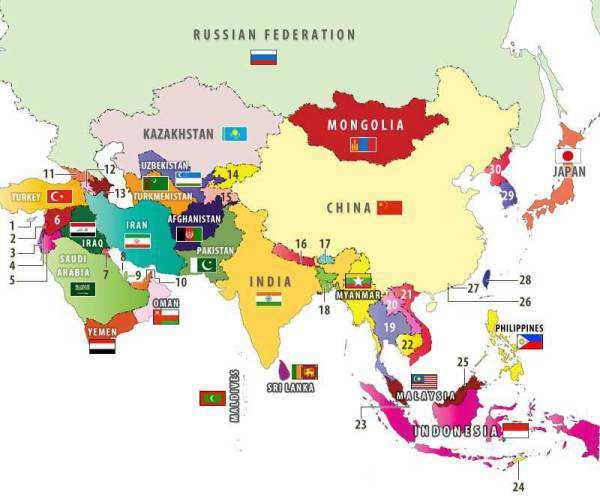 những nước nói tiếng Anh ở Châu Á gồm những nước nào