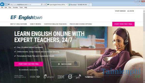phần mềm tự học tiếng Anh cấp tốc EF Englishtown